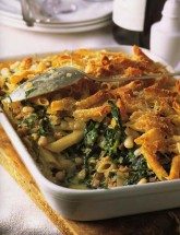 Pasta Pie with Peppery Greens