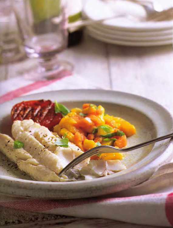 Lavarenne roast cod with tropical fruit salsa for Fruit salsa for fish