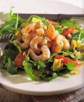 Avocado, Grapefruit and Shrimp Salad with a Citrus Dressing